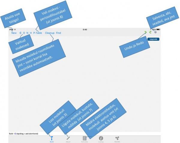 Joonis 2. WebMO funktsioonid